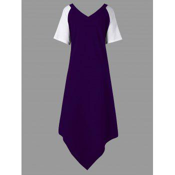 Plus Size Color Block Asymmetrical Tee Dress - PURPLE PURPLE