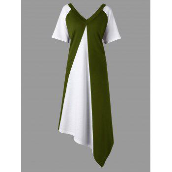 Plus Size Color Block Asymmetrical Tee Dress - ARMY GREEN ARMY GREEN