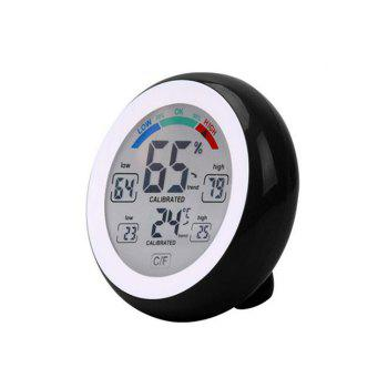 Temperature Humidity Touch Screen Digital Thermometer Hygrometer - BLACK BLACK