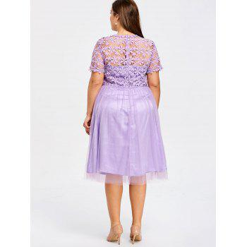 Plus Size Lace Panel Tulle Bridesmaid Dress - LIGHT PURPLE XL