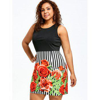 Plus Size Floral Sleeveless Sheath Dress - COLORMIX XL