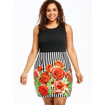 Plus Size Floral Sleeveless Sheath Dress - COLORMIX COLORMIX