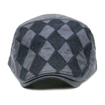 Rhombus Pattern Adjustable Cabbie Hat - GRAY