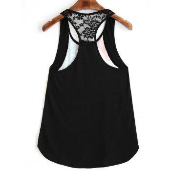 Flower Leaf Print Lace Racerback Tank Top - GREEN M