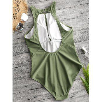 One Piece Cut Out Back Keyhole Swimsuit - OLIVE GREEN XS