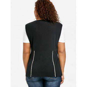 Plus Size Two Tone Sweetheart Neck T-shirt - WHITE/BLACK 3XL