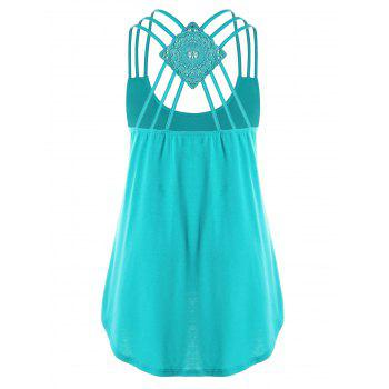 Plus Size Criss Cross Curved Tank Top - MALACHITE GREEN XL