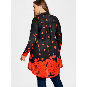 Plus Size Long Sleeve Rose Tunic Top - BLACK/RED 2XL
