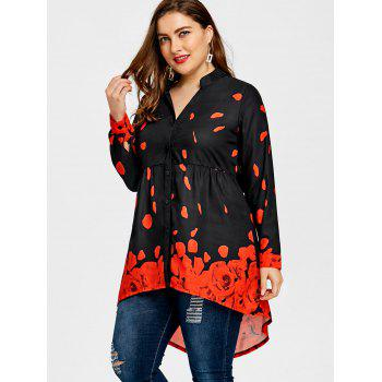 Plus Size Long Sleeve Rose Tunic Top - BLACK/RED 3XL