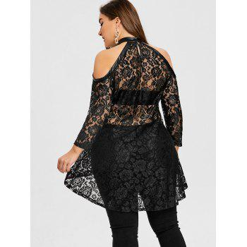 Floral Lace High Low Plus Size Top - BLACK XL
