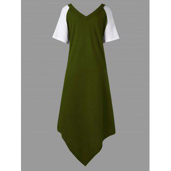Plus Size Color Block Asymmetrical Tee Dress - ARMY GREEN XL