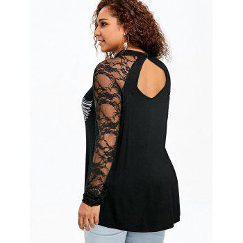 Plus Size Music Note Wings Print Lace Panel Top - BLACK 4XL