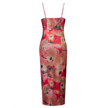 Floral Print High Slit Midi Bodycon Dress - RED M