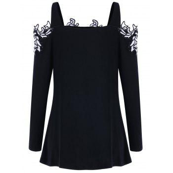 Open Shoulder Embroidered Applique Top - BLACK 2XL
