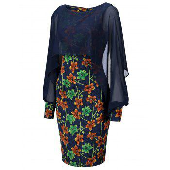 Floral Print Chiffon Insert Bodycon Dress - PURPLISH BLUE 2XL