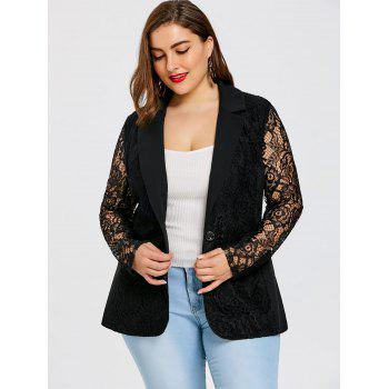 Plus Size One Button Lace Blazer - BLACK XL