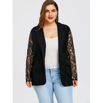 Plus Size One Button Lace Blazer - BLACK 2XL
