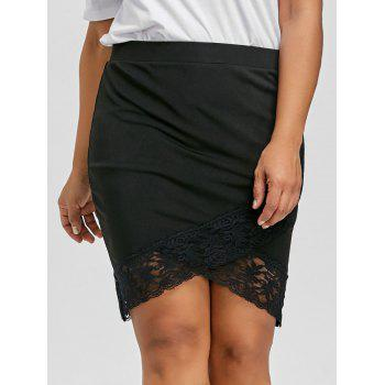 Plus Size Lace Panel Crossover Front Skirt - BLACK 4XL