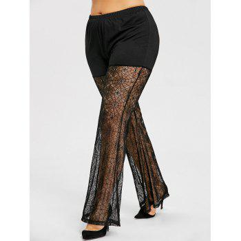 Plus Size Sheer Lace Flare Leggings - BLACK 3XL