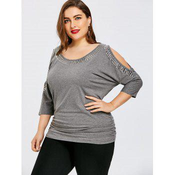 Plus Size Embellished Open Shoulder Tunic T-shirt - HEATHER GRAY 3XL
