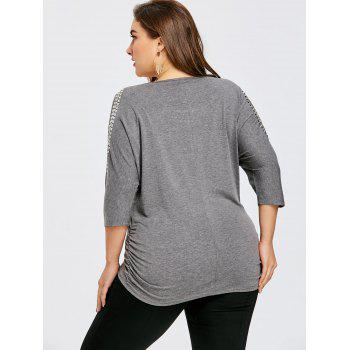 Plus Size Embellished Open Shoulder Tunic T-shirt - HEATHER GRAY 4XL