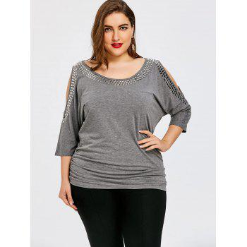 Plus Size Embellished Open Shoulder Tunic T-shirt - HEATHER GRAY 5XL