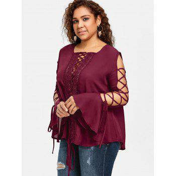 Plus Size Lace Panel Flare Sleeve Blouse - WINE RED XL