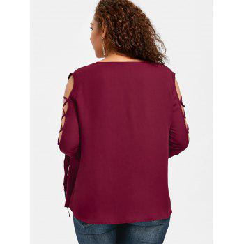 Plus Size Lace Panel Flare Sleeve Blouse - WINE RED 2XL