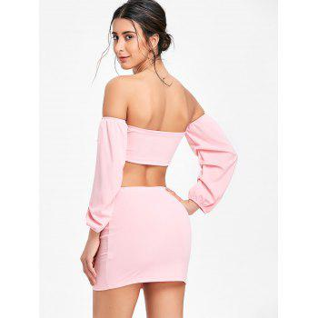 Puff Sleeve Bandeau Top and Mini Skirt - PINK L