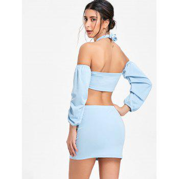 Puff Sleeve Bandeau Top and Mini Skirt - WINDSOR BLUE XL