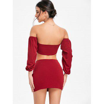 Puff Sleeve Bandeau Top and Mini Skirt - WINE RED XL