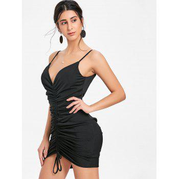 Plunging Neck Cami Strap Ruched Dress - BLACK XL