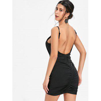 Plunging Neck Cami Strap Ruched Dress - BLACK M
