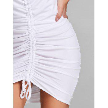 Plunging Neck Cami Strap Ruched Dress - WHITE XL