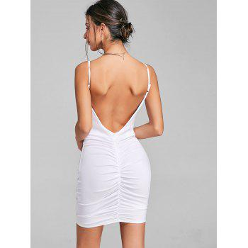 Plunging Neck Cami Strap Ruched Dress - WHITE L