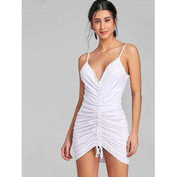 Plunging Neck Cami Strap Ruched Dress - WHITE M