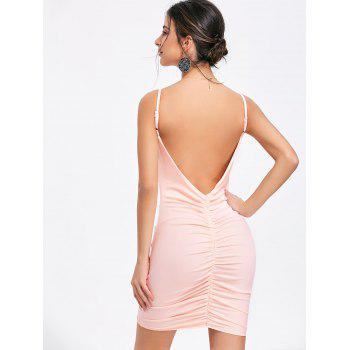 Plunging Neck Cami Strap Ruched Dress - PINK L