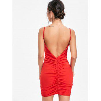 Plunging Neck Cami Strap Ruched Dress - RED S