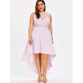 Plus Size Lace Trim Sleeveless High Low Dress - LIGHT PINK XL