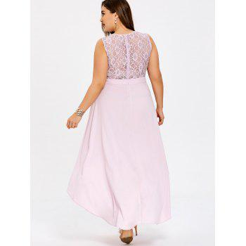 Plus Size Lace Trim Sleeveless High Low Dress - LIGHT PINK 2XL