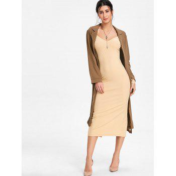 Open Shoulder Long Sleeve Ribbed Dress - BEIGE S