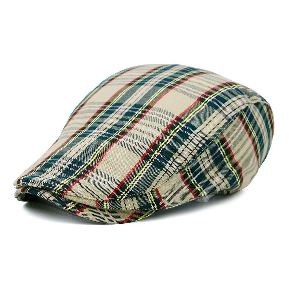 Unique Tartan Pattern Cabbie Hat - BEIGE
