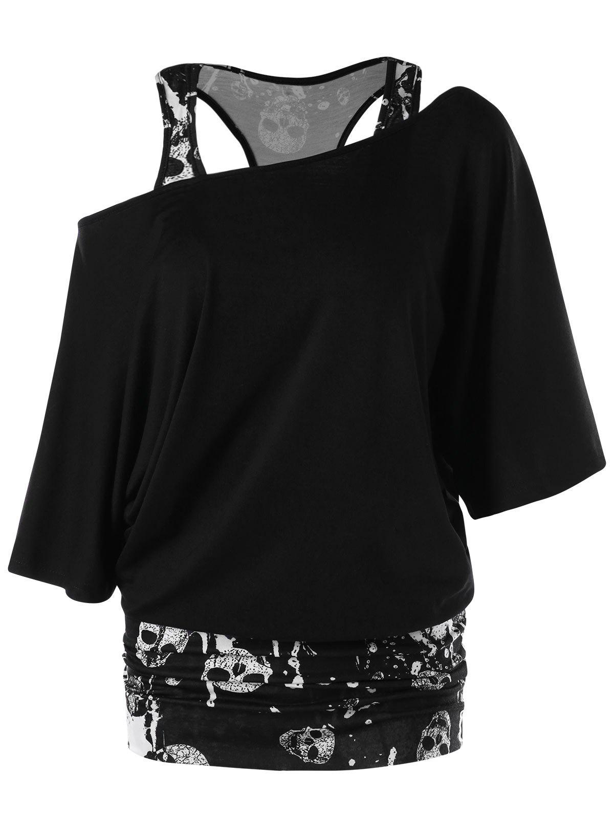 Skew Collar Skulls Tunic T-shirt - BLACK M