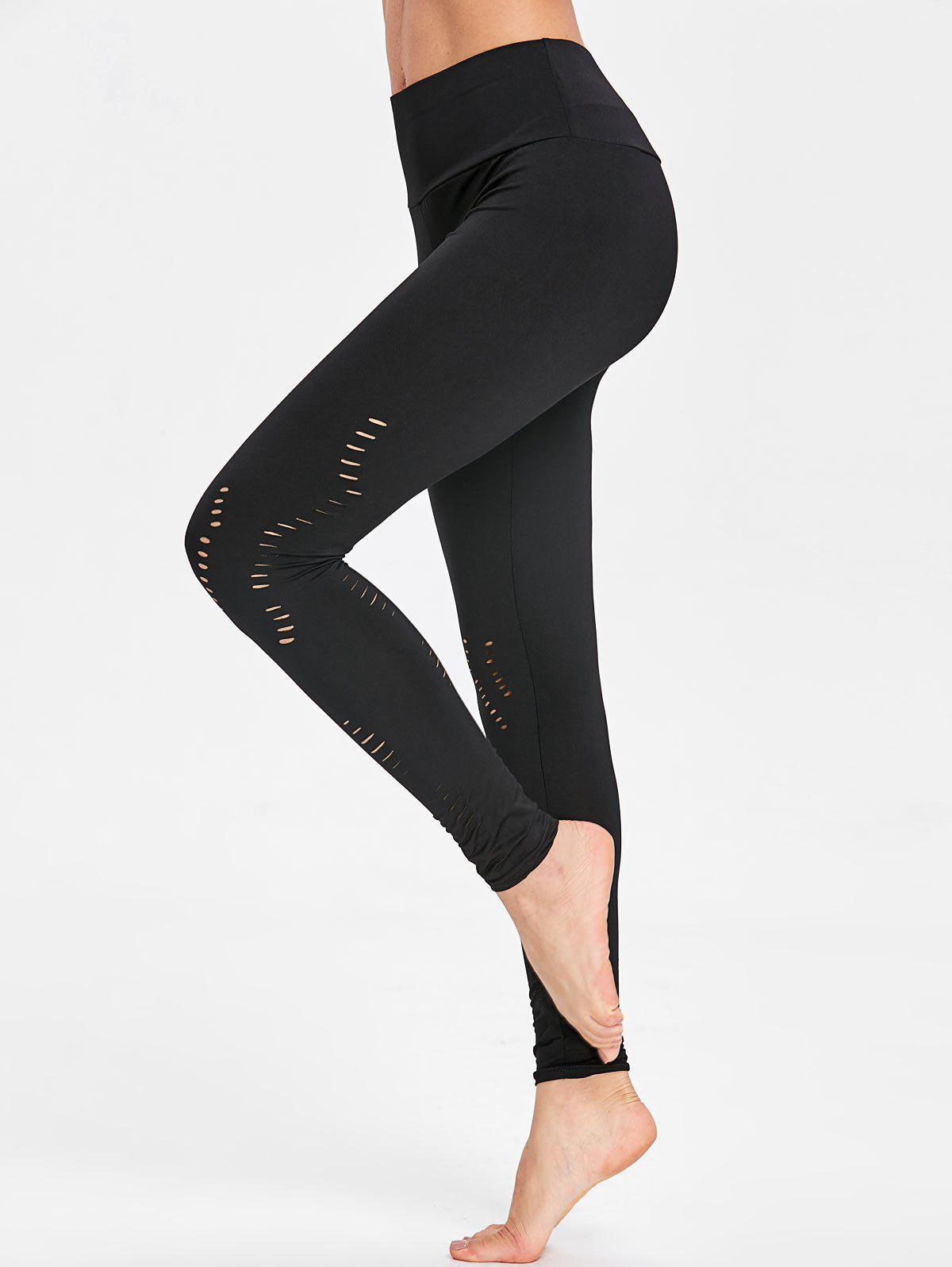 Yoga Ripped Cutout Leggings - BLACK XL