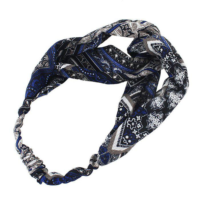 Vintage Geometric Print Elastic Hair Band - BLACK