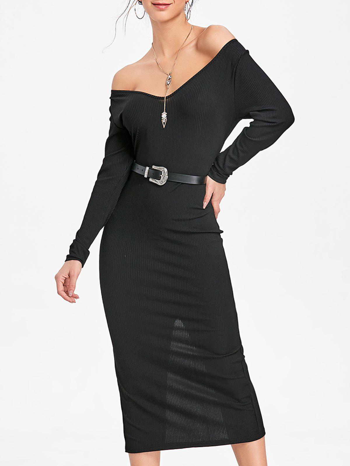 Open Shoulder Long Sleeve Ribbed Dress - BLACK M