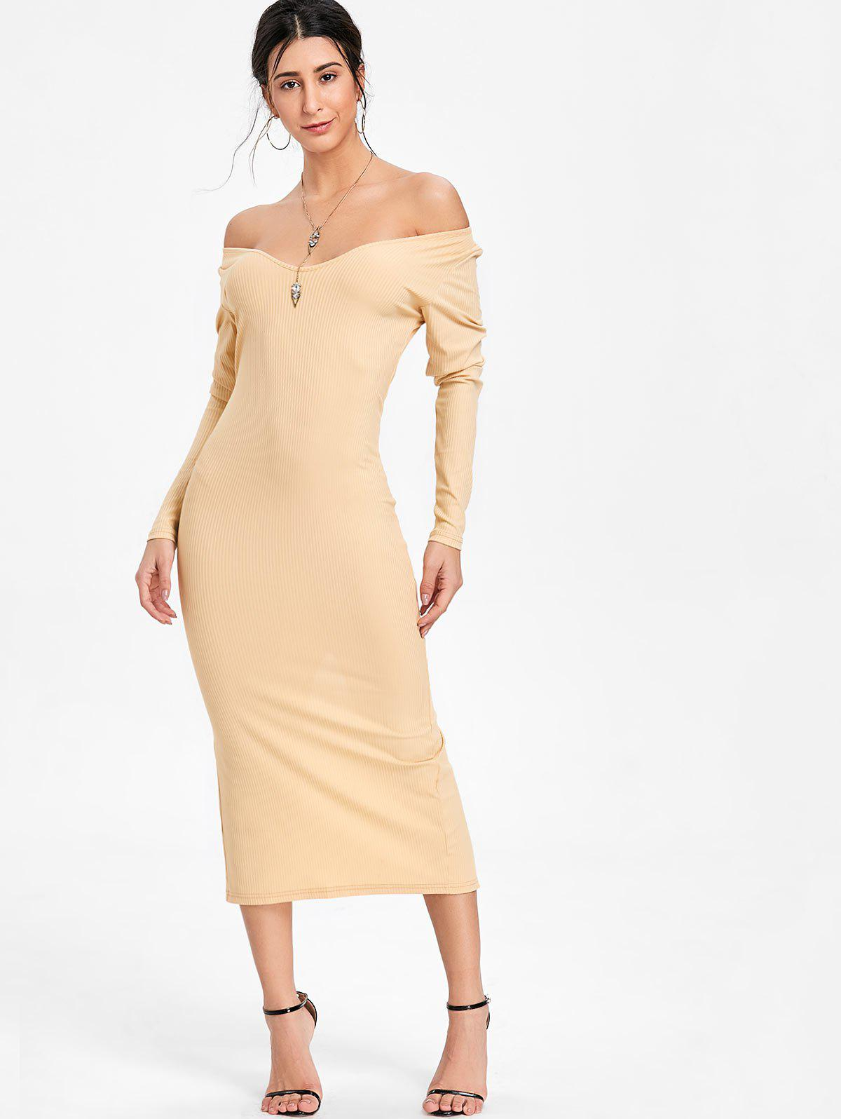 Open Shoulder Long Sleeve Ribbed Dress - BEIGE XL