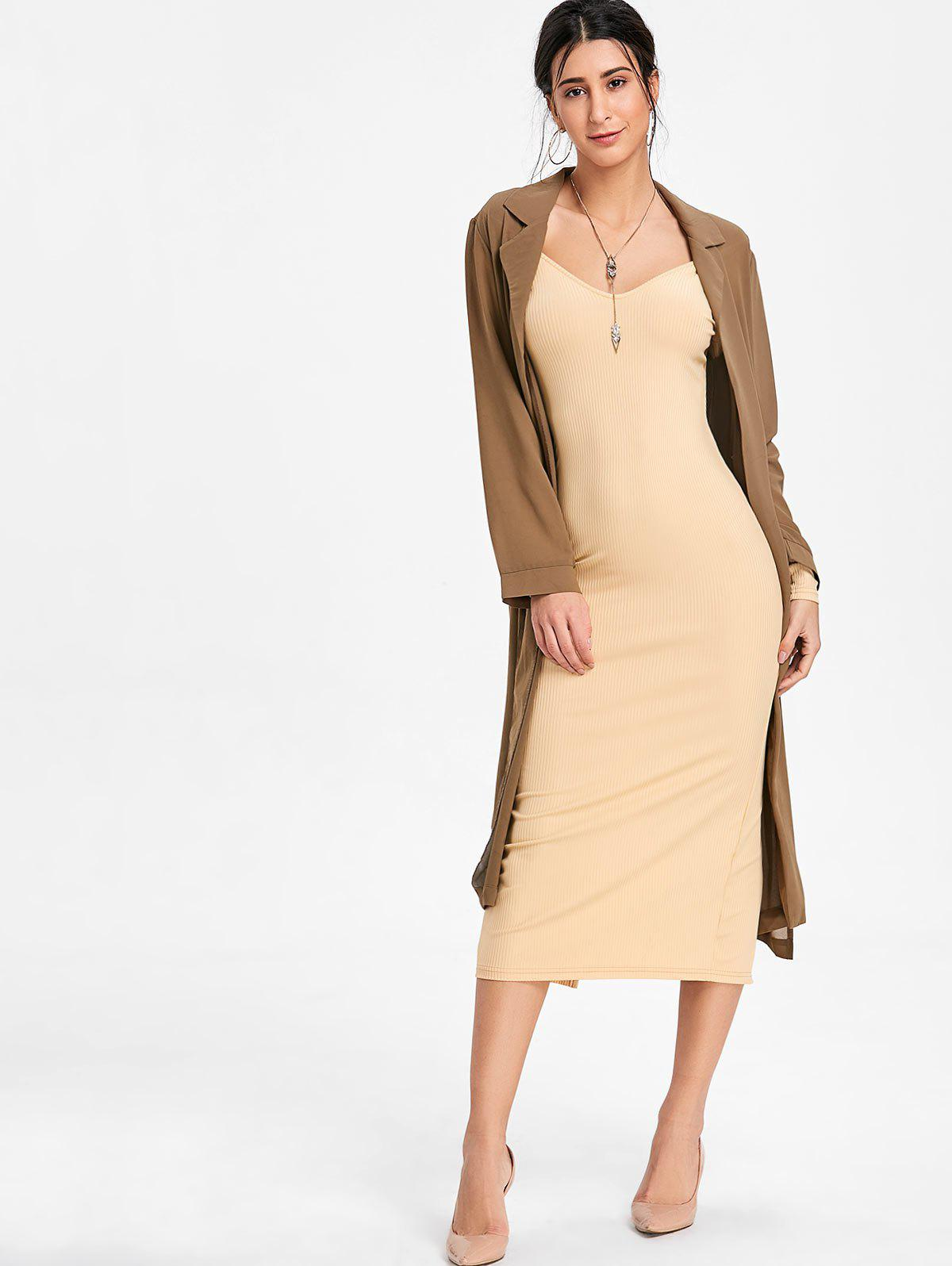 Open Shoulder Long Sleeve Ribbed Dress - BEIGE L