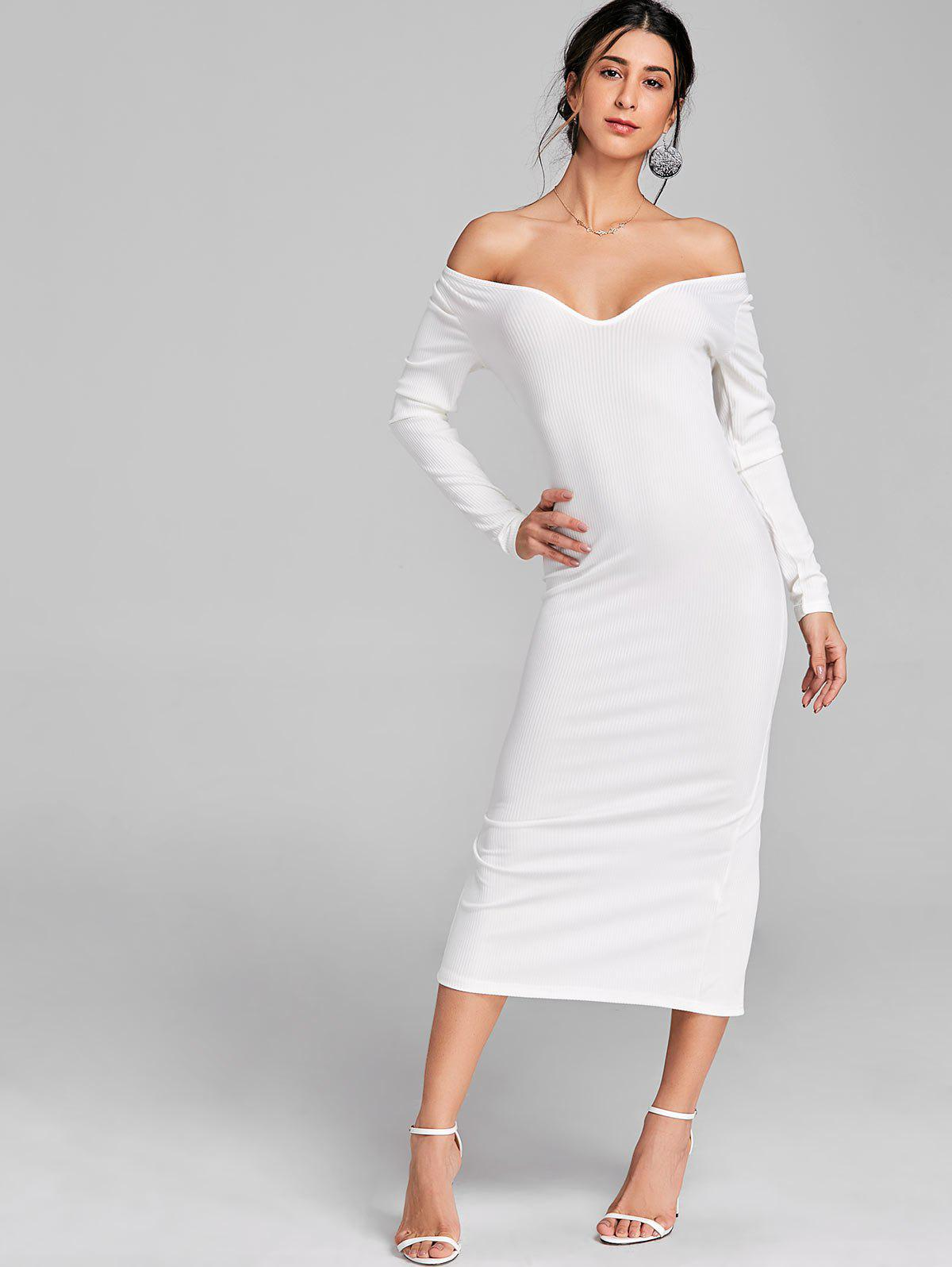 Open Shoulder Long Sleeve Ribbed Dress - WHITE S