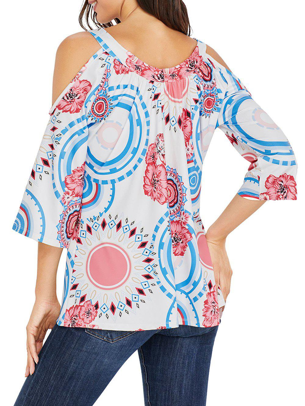 Floral and Circle Print Cold Shoulder Top - WHITE 2XL